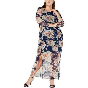 NY Collection Women Floral Print Ruched Maxi Dress